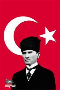 kalpaklı atatürklü türk bayrağı posteri