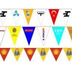 ipe dizili üçgen bayrak ipe sıralı
